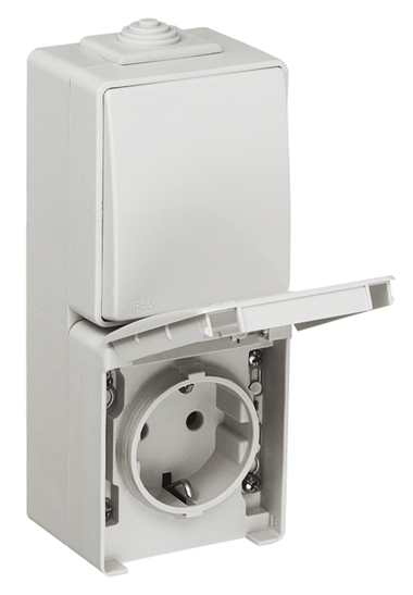 Two-way Switch + Safety Earth Socket (Schuko Type) in a Double Vertical Base