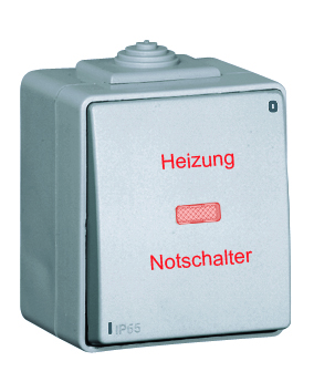 """Two Pole Switch with Pilot Lamp and Printing """"HEIZUNG NOTSCHALTER"""""""