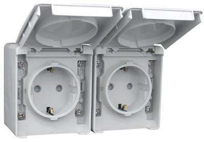 Two Safety Earth Sockets (Schuko Type) in a Double Horizontal Base