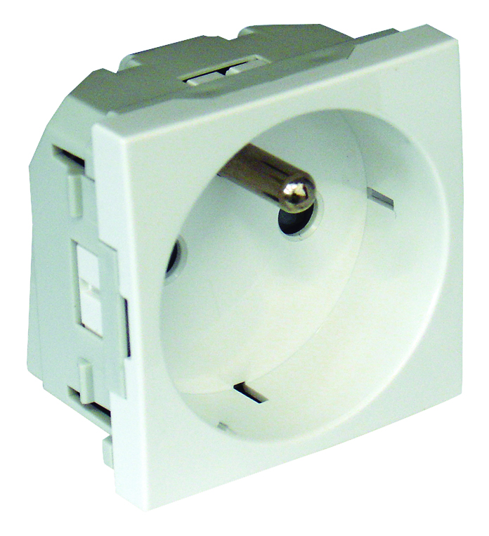 Safety Earth Socket (French type) Horizontal Apertures with Screwless terminals - 2 Modules